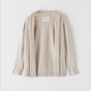 Zara Knitwear Cardigan with Draped Neck Si…